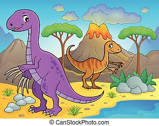 Image with dinosaur thematics 8 - eps10 vector illustration.