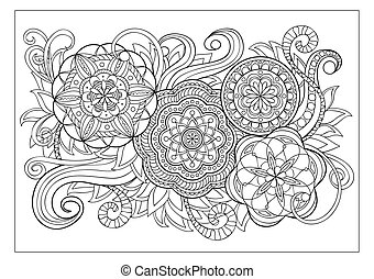 Hand drawn decorated image with doodle flowers and mandalas. Image for adult coloring pages, books, embroidery.