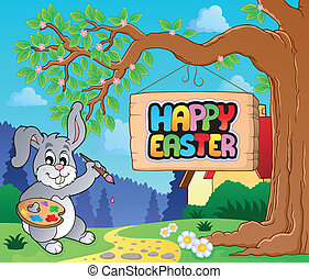 Image with Easter bunny and sign 1