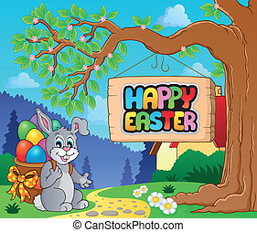 Image with Easter bunny and sign 2