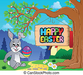 Image with Easter bunny and sign 3
