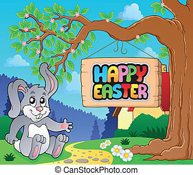 Image with Easter bunny and sign 4