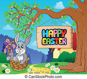 Image with Easter bunny and sign 5