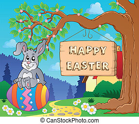 Image with Easter bunny and sign 7