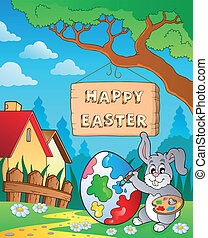 Image with Easter bunny and sign 8