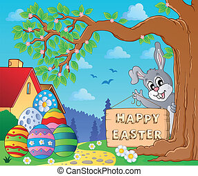Image with Easter bunny and sign 9