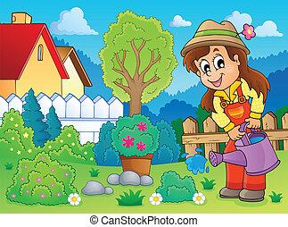 Image with gardener theme 2 - eps10 vector illustration.