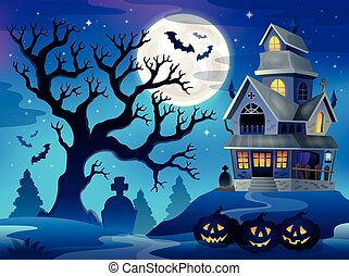 Image with haunted house thematics 6 - eps10 vector...