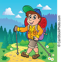 Image with hiking theme 1 - vector illustration.
