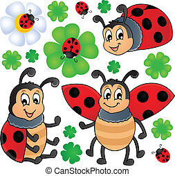Image with ladybug theme 1 - vector illustration.