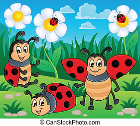 Image with ladybug theme 2 - vector illustration.