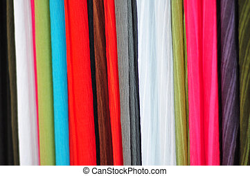 coloured fabrics - image with many types of coloured fabrics