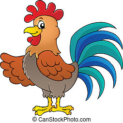 Image with rooster theme 1 - vector illustration.