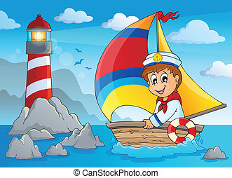 Image with sailor theme 4 - eps10 vector illustration.