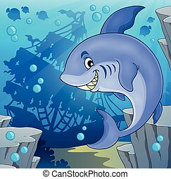 Image with shark theme 4 - eps10 vector illustration.