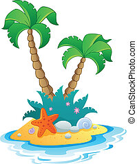 Image with small island 1 - vector illustration.