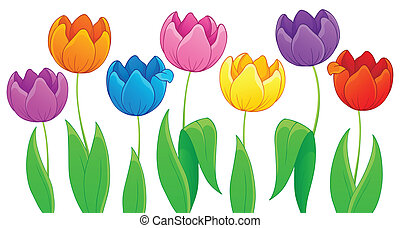 Image with tulip flower theme 3 - eps10 vector illustration.
