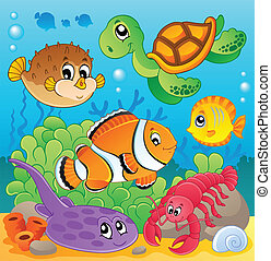 Image with undersea theme 6 - vector illustration.