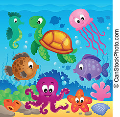 Image with undersea theme 7 - eps10 vector illustration.