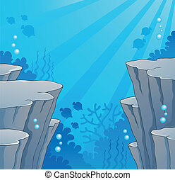 Image with undersea topic 2 - vector illustration.