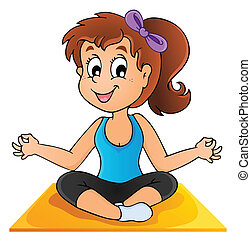 Image with yoga theme 1 - vector illustration.