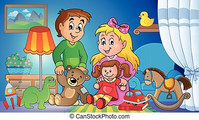 imagem, 2, crianças, tema, brinquedos