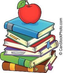 imagem, 2, livros, tema, pilha