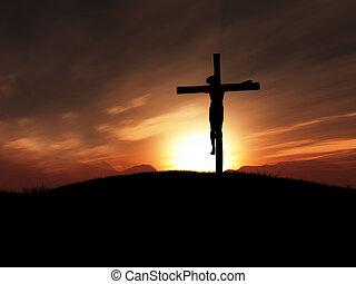 imagem, 3d, pôr do sol, crucifixos, jesus