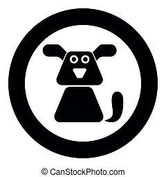 imagem a cores, cão, ilustração, simples, vetorial, pretas, ícone