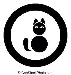 imagem a cores, ilustração, gato, simples, vetorial, pretas, ícone