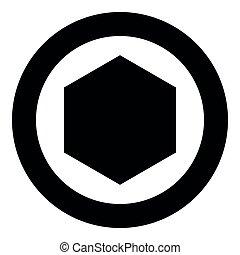 imagem a cores, ilustração, simples, vetorial, pretas, hexágono, ícone