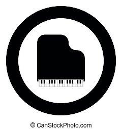 imagem a cores, ilustração, simples, vetorial, pretas, piano grande, ícone