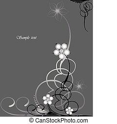 imagem, abstratos, lá, flores, ramo, scroll