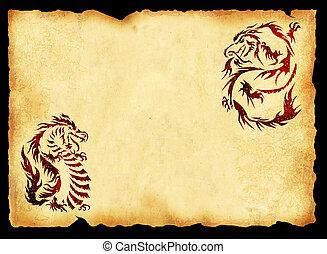 imagem, antiga, pergaminho, dragões