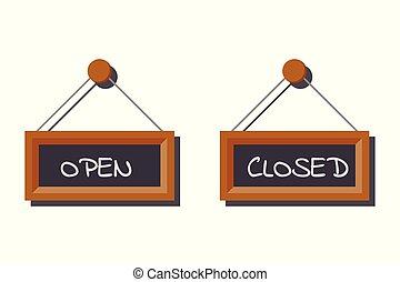 imagem, ardósia, abertos, escrito, tábua, jogo, fechado, vário, sinais, chalk., negócio