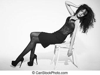 imagem, assento mulher, tiro, chair., estúdio, bonito