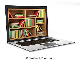 imagem, biblioteca,  Internet, Conceitual, e-aprendendo, Educação, ou