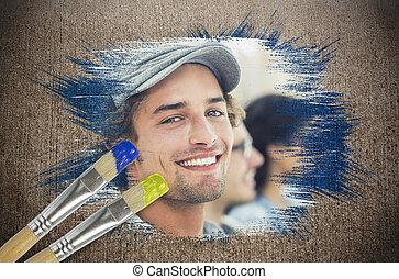 imagem, câmera, desenhista, composto, sorrindo