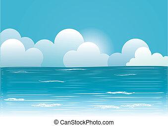imagem, céu azul, sol, vetorial, clouds., bonito