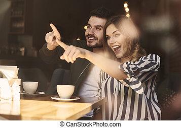 imagem, café, par, excitado, restaurante