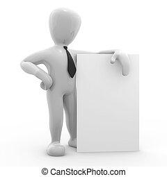 imagem, cartaz, personagem, fundo, branca, 3d