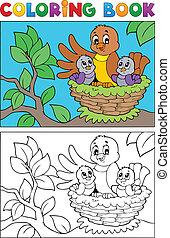 imagem, coloração, 5, livro, pássaro