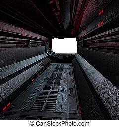 imagem, compondo, dentro, ou, scifi, fundo, nave espacial,...