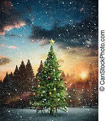 imagem composta, árvore, natal