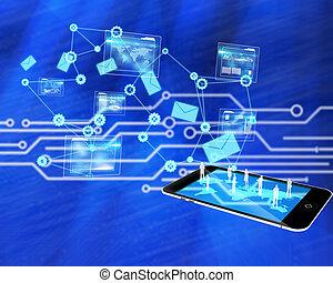 imagem composta, análise, fundo, interface, dados