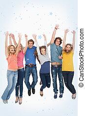 imagem composta, ar, celebrando, pular, amigos