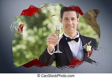 imagem composta, champanhe, brindar, noivo