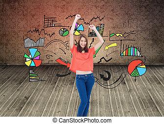 imagem composta, de, adolescente, rir, enquanto, desgastar, roupas casuais, e, levantamento, dela, braços
