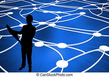 imagem composta, de, brilhante, pontos, conectado, com,...