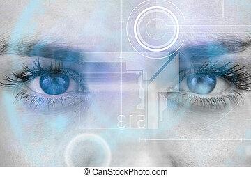 imagem composta, de, cima, de, femininas, olhos azuis